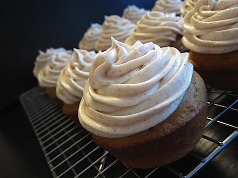 Pumpkin Spice Cupcakes with Honey Cinnamon Cream Cheese Frosting