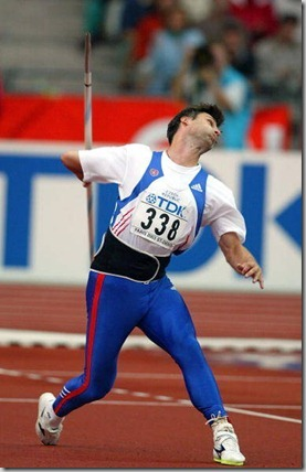 PARIS - AUGUST 29:  Jan Zelezny of the Czech Republic in action during the men's javelin qualification at the 9th IAAF World Athletics Championship August 29, 2003 in Paris.  (Photo by Phil Cole/Getty Images)