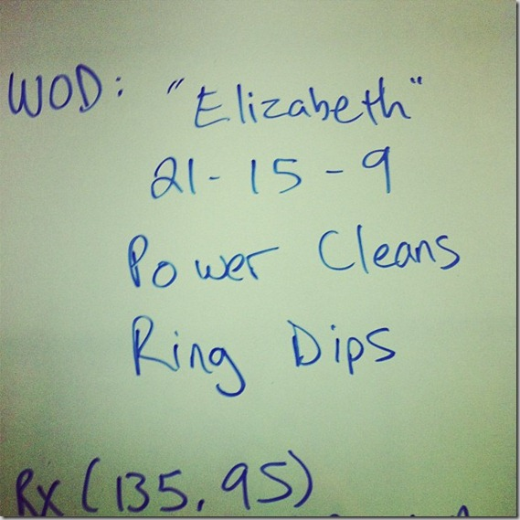Elizabeth CrossFit WOD