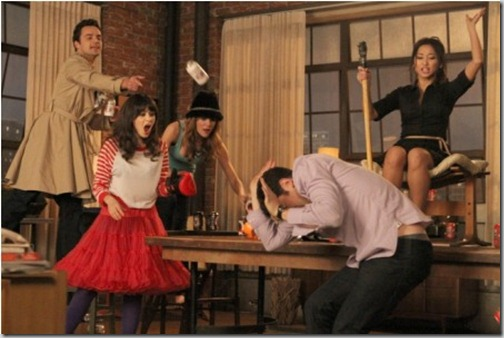 "NEW GIRL:  L-R:  Nick (Jake Johnson), Jess (Zooey Deschanel), Holly (guest star Brooklyn Decker), Schmidt (Max Greenfield) and Daisy (guest star Brenda Song) play a heated game of ""True American"" in the ""Cooler"" episode of NEW GIRL airing Tuesday, Jan. 29 (9:00-9:30 PM ET/PT) on FOX.  ©2012 Fox Broadcasting Co.  Cr: Patrick McElhenney/FOX"