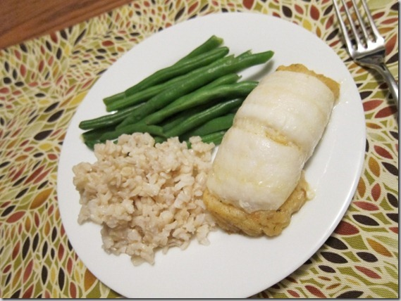 stuffed sole with green beans and rice