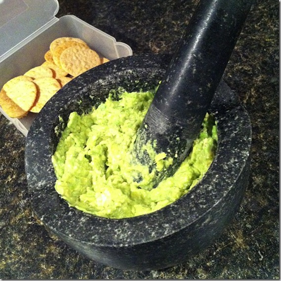 homemade guacamole and rice crackers