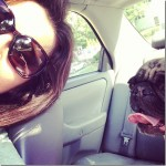 Tina and Murphy ride in the car
