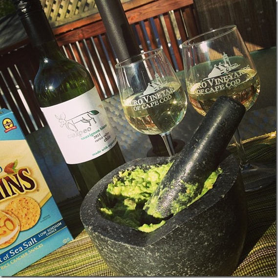 wine and guacamole