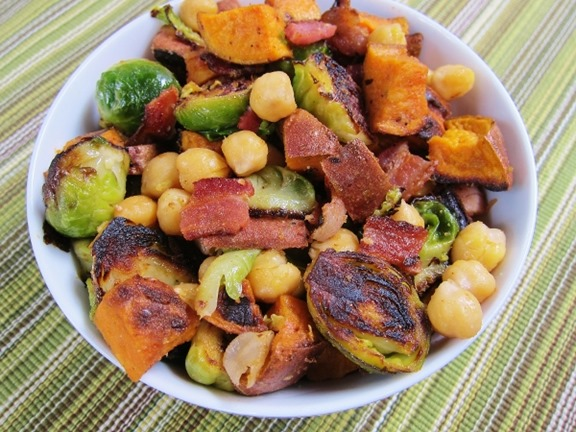 Sweet Potato, Chickpea & Brussels Sprout Salad with Bacon – Carrots ...