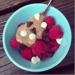 berries almond butter and chocolate chips