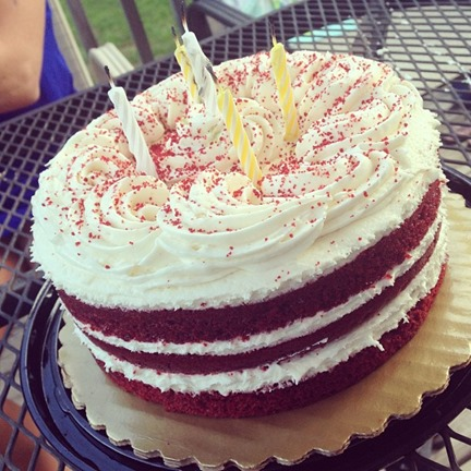 And red velvet birthday cake.