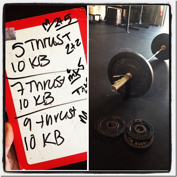 thruster and kb swing WOD