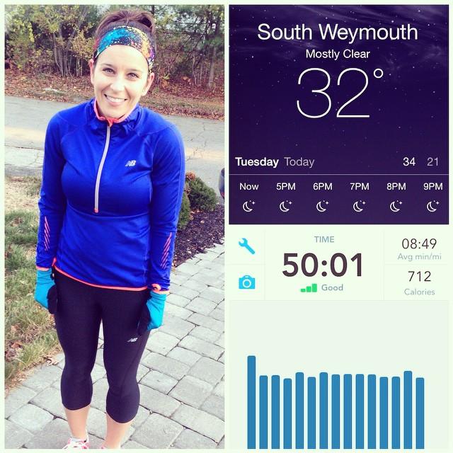Brrrrrr! Chilly run! 50 minutes (5.67 miles) ? #run #running #newengland #chilly #teamstonyfield #bostonmarathon #fitfluential #igfitmoms #igfitmom #ffcheckin #fitmom #crossfitmom