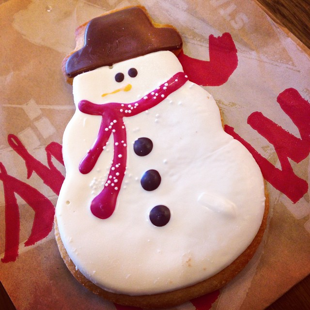 Almost too cute to eat. But I will. ⛄️? @starbucks #snowmancookie #toocutetoeat #cookie #starbucks #sugarcookie #yum #holidays #treatyourself