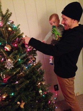 decorating babys first christmas tree