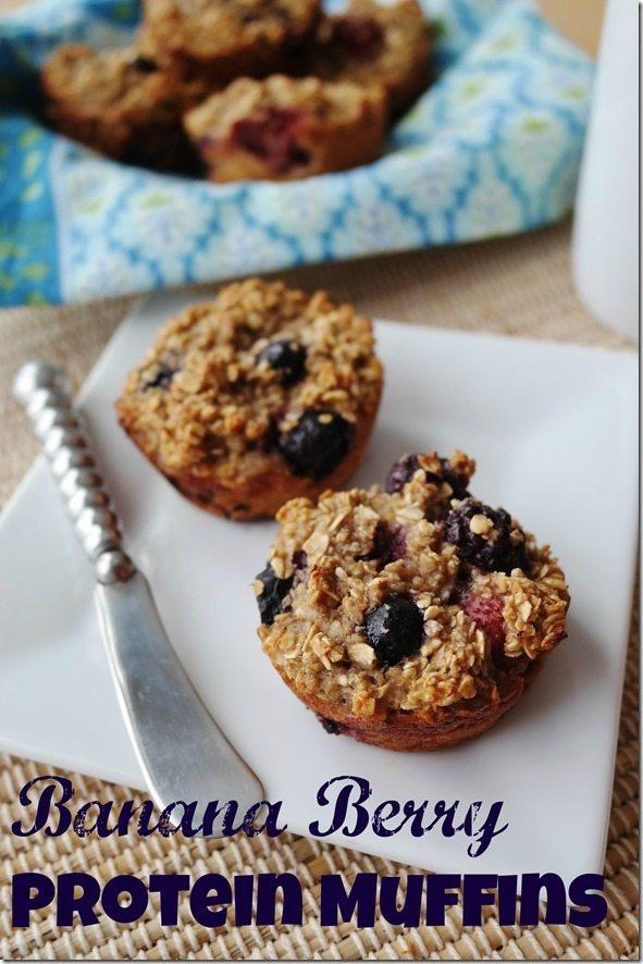 Banana Berry Protein Muffins