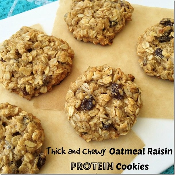 Thick and Chewy Oatmeal Raisin Protein Cookies - Carrots 'N' Cake