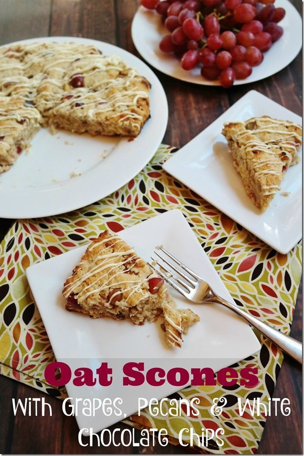 Oat Scones with Grapes, Pecans & White Chocolate Chips