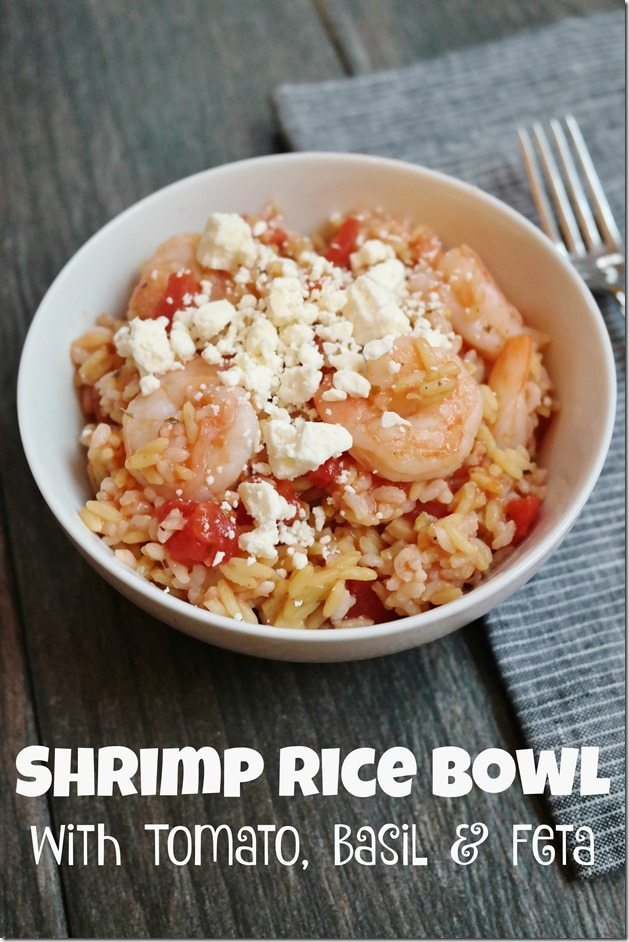 Shrimp Rice Bowl with Tomato, Basil & Feta