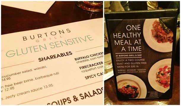 Burton's Gluten Sensitive Menu