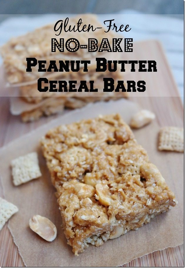 gluten-free no-bake peanut butter cereal bars
