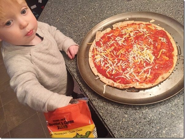 toddler pizza making