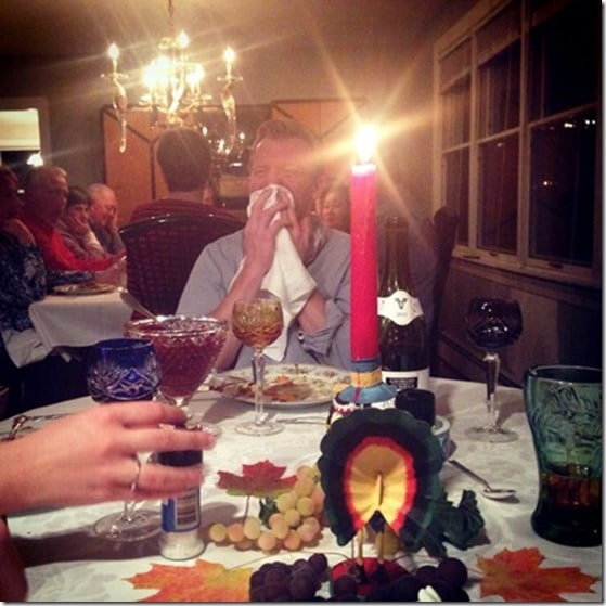 mal cracking up at thanksgiving