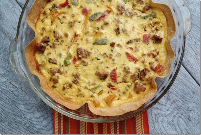 Sausage, Pepper & Ricotta Tortilla Quiche