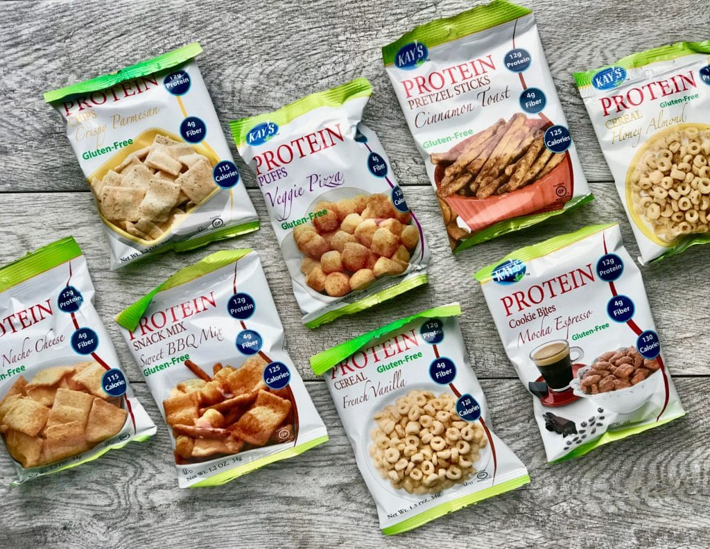Bags of Kay's protein snacks