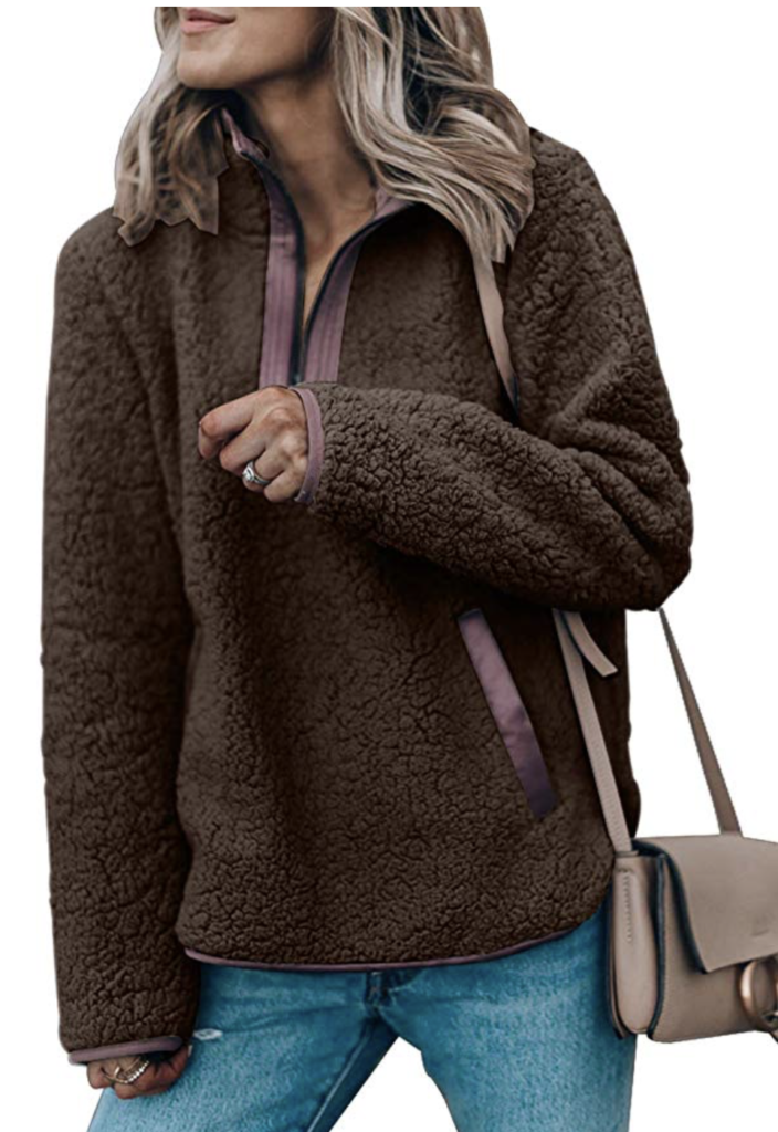 affordable amazon pullover fleece jacket in brown