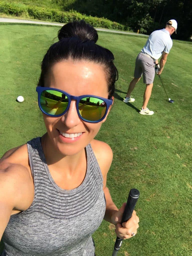 Kohv sunglasses on golf course