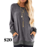Gadewake Color Block Long Sleeve Sweatshirt Top from Amazon