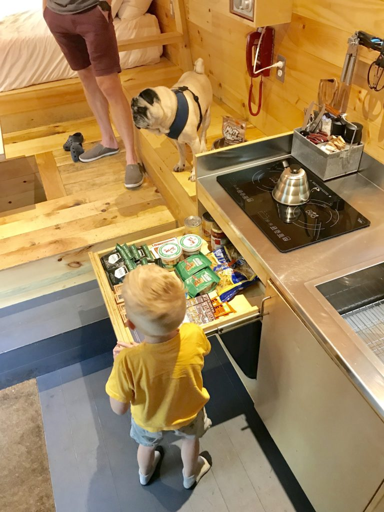 Review of Getaway Boston provisions inside of tiny house kitchen