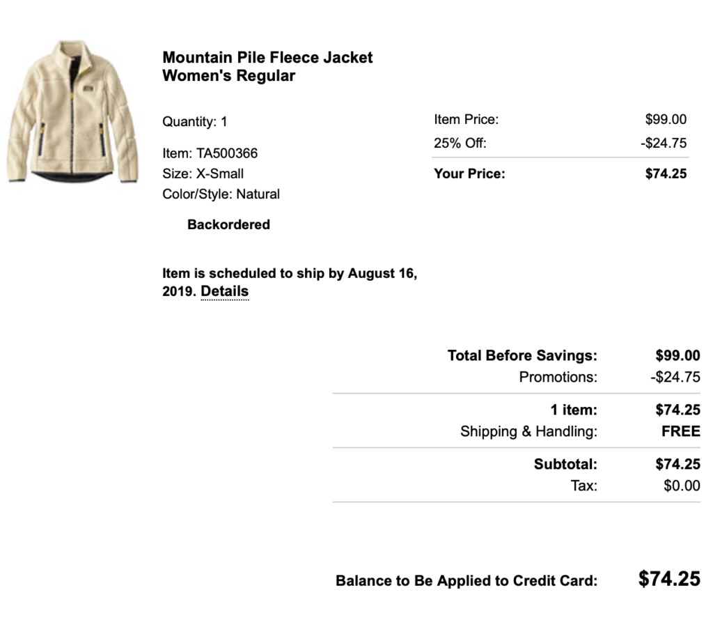 LL BEAN PROMO CODE FOR WHITE FLEECE JACKET
