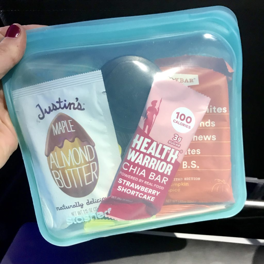 stasher bag with healthy snacks for a long flight; Meal Prep Hacks for a Long Flight